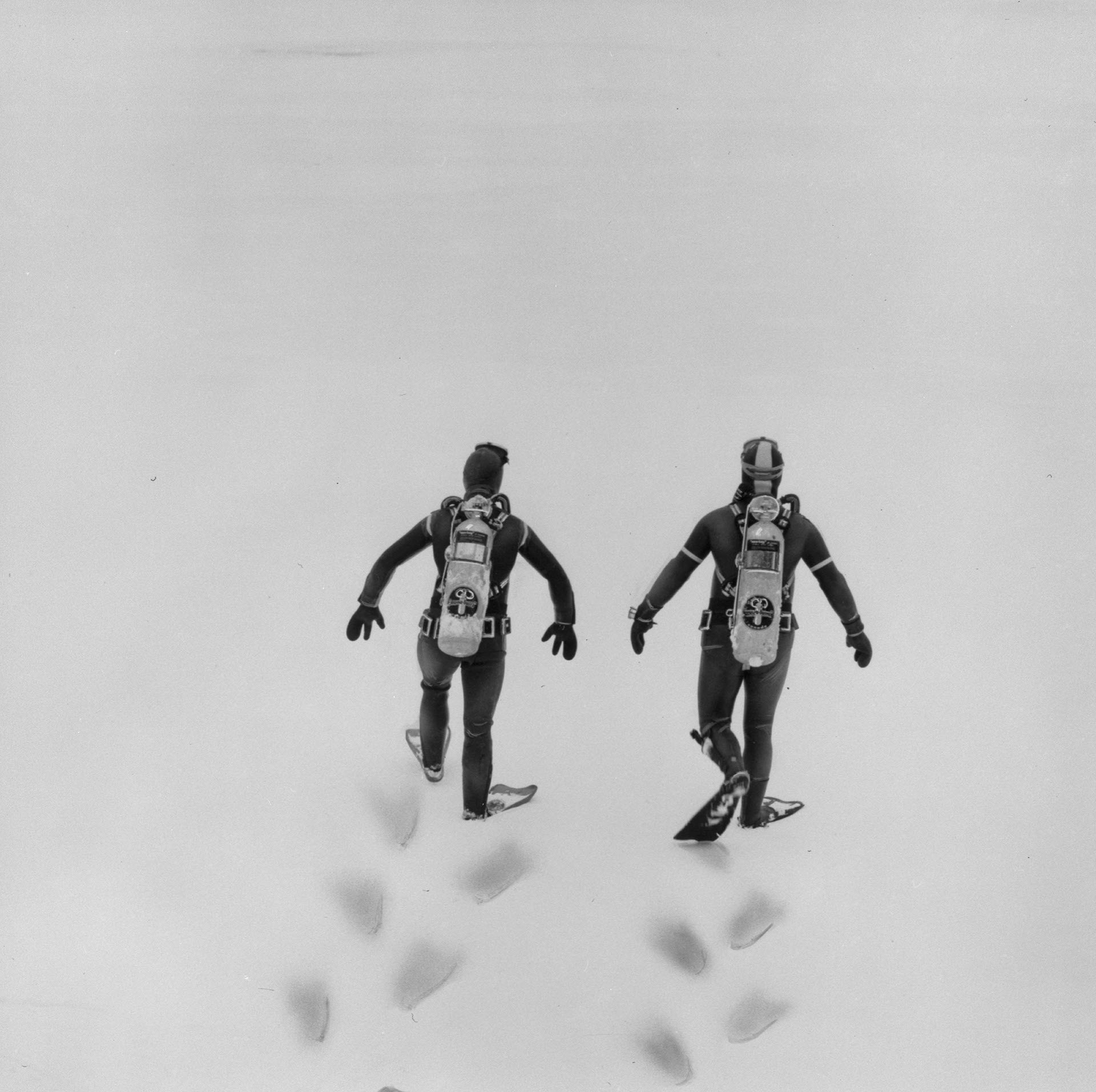 Two scuba divers, seen from behind, walking across snow
