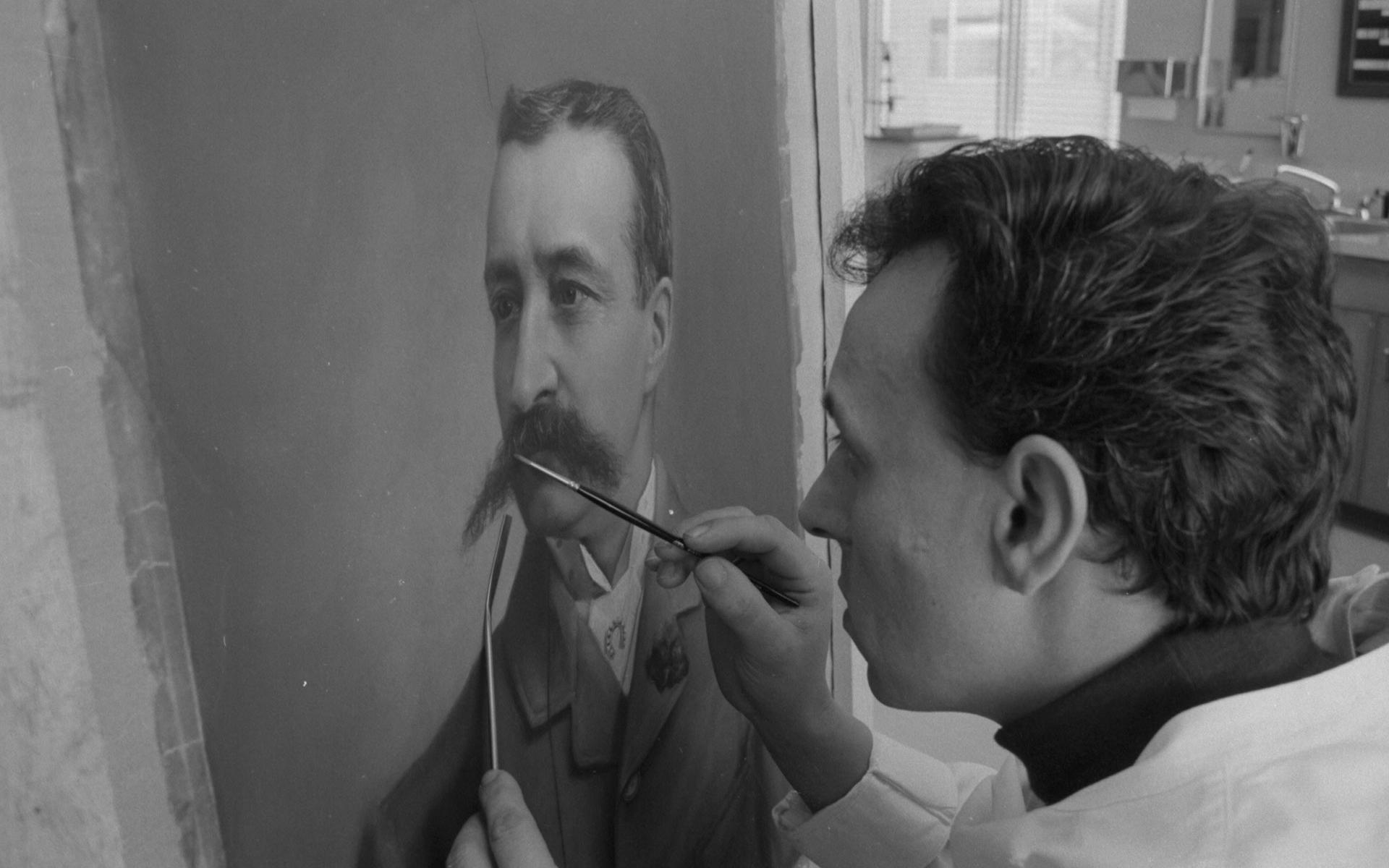 Roger Roche retouching a pastel for conservation