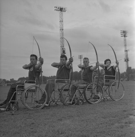 Canada's wheelchair archery team: Pierre Brousseau, Roch Poirier, Jean Rochon and Thérèse Tourangeau